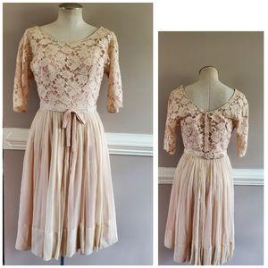 Vintage Lace and Chiffon 1950's Pink Dress